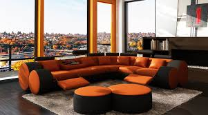 canapé d angle orange deco in canape d angle cuir orange et noir relax