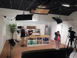 our video studio is converted into a kitchen for a commercial