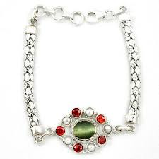 silver bracelet jewelry images Green cats eye garnet 925 sterling silver bracelet jewelry d10343 JPG