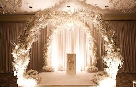 wedding arches inside modern wedding with black white elements inside weddings