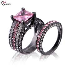 pink and black engagement rings pink cubic zirconia black plated women s black gold wedding ring