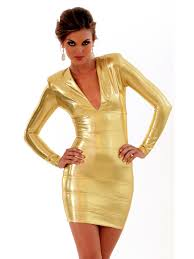 plunging v neck short length with long sleeves gold stretch satin