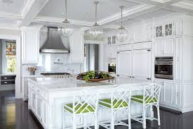 oversized kitchen island white kitchen with white and green bamboo counter stools
