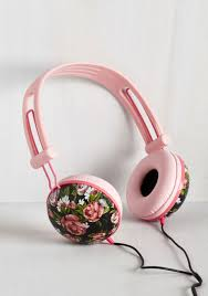 Modcloth Home Decor Swoons And Tunes Headphones In Painted Roses Playful Presents