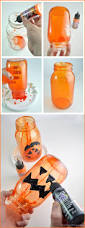 Mason Jar Halloween Lantern Glass Pumpkin Jack O Lanterns On Homemade Hay Bales Club Chica