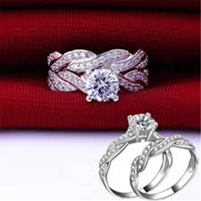size 6 engagement ring gemstone cz white gold filled engagement ring set size 6 9