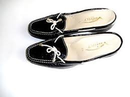 womens vainer 40 usa 9 black patent leather wedge loafers made in