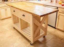 ash wood unfinished raised door kitchen island with butcher block