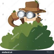 detective private investigator spy spying bushes stock vector