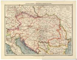 Map Austria 1905 Map Austria Hungary Industries U0026 Communications Bosnia Servia