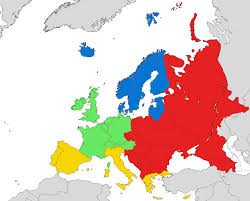 Western Europe Map european sub regions according to eurovoc blue northern europe