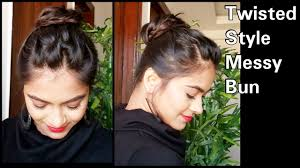 5 min twisted style messy bun hairstyle for medium long hair easy