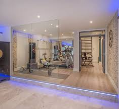 basement exercise room home gym contemporary with glass wall