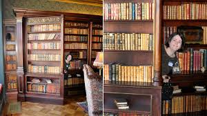 interior alluring brown varnished wooden open wall bookshelves