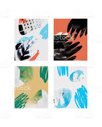 vector contemporary greeting card set hand drawn watercolor