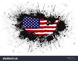 United States Map Outline by Usa Flag Map Outline Grunge Ink Stock Vector 372251641 Shutterstock