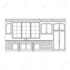 dessiner cuisine cuisine élévation ligne dessin armoires les tiroirs les