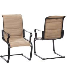 Sling Patio Dining Set Stackable Patio Set Bay Rocking Padded Sling Outdoor Dining Chairs