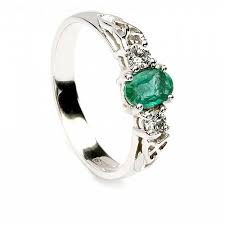 celtic engagement rings emerald celtic engagement ring 14k white gold