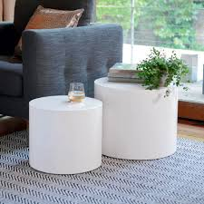 white gloss side table circular gloss stacking side tables white dwell