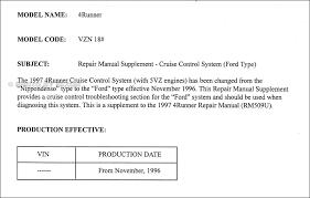 1997 toyota 4runner cruise control repair shop manual supplement