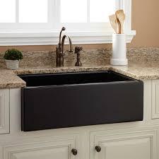 Kitchen Utensils Design by Sinks Smooth Reversible Black Porcelain Apron Sink Granite