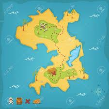 Treasure Island Map Illustration Of A Cartoon Treasure Island And Its Map With Skull