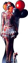 scary female killer clown halloween lifesize cardboard cutout
