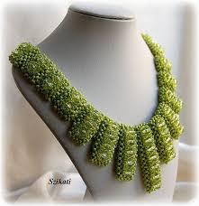 Costume Jewelry Unique Beaded Design Elegant Green Beaded Bib Necklace Art Beadwork Women U0027s Beadwoven
