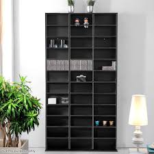 black bookshelf with cabinet voilamart 1116 cd black storage shelf rack stand dvd media cupboard