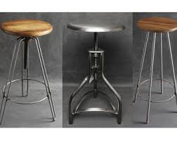 Metal Bar Stools With Wood Seat Bar Stool Etsy