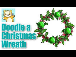 how to draw a beautiful holly wreath for christmas youtube