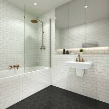 pivotech duo bathpanel in this cute black white bathroom with