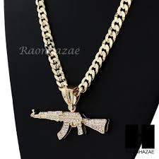 big link necklace images Hip hop iced out ak 47 gun big pendant diamond cut cuban link jpg
