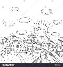 design coloring book coloring book sunny city design kids stock vector 331638311