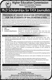 hec phd scholarships for fata journalists 2013 august foreign