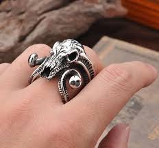 vintage titanium rings images Vintage argali skull ring titanium stainless steel men ring punk ring jpg