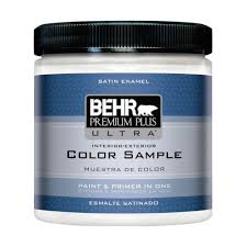 behr premium plus ultra 8 oz 220 ultra pure white satin enamel 220 ultra pure white satin enamel interior exterior paint and primer in one sample ul22016 the home depot