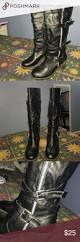 comfortable moto boots black tall boots thick heels and moto boots