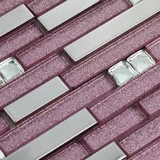 Purple Glass Mosaic Tile Backsplash Silver Stainless Steel - Glass and metal tile backsplash