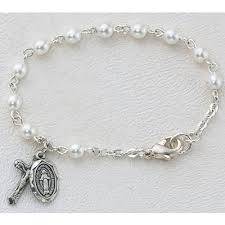 baby rosary bracelet baby rosary bracelet 4mm glass pearl sterling silver medals 98331