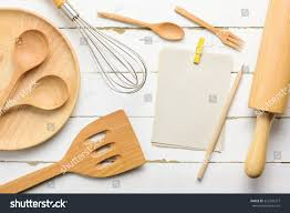 notebook write list menu wooden kitchen stock photo 321242327