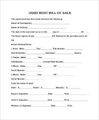 Free Sle Of Bill Of Sale For Used Car by Sle Boat Bill Of Sales 9 Free Sle Exle Format