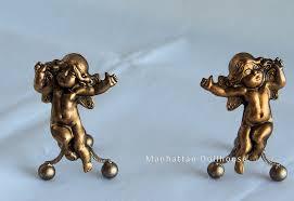 dollhouse miniature andirons gold cherubs 18 00 manhattan