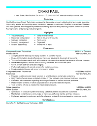 Best Quality Resume Format by Best Computer Repair Technician Resume Example Livecareer