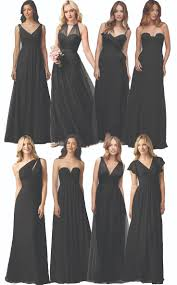 black wedding dress and bridesmaids strapless black bridesmaid