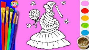 barbie dress coloring rainbow coloring book pages video for kids