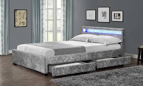 Led Bed Frame Comet Led Velvet Bed Frame Groupon