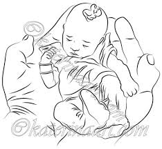 Hand Washing Coloring Sheet - digital stamp baby in hands printable coloring page katerinaart