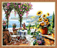 painting for home decoration gx8057 40 50 natural scenery glass painting by numbers for home
